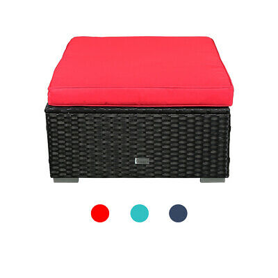 Ottoman Outdoor Patio Furniture - Black Wicker Patio Ottoman Sectional Outdoor Foot Stool Sofa Couch Furniture
