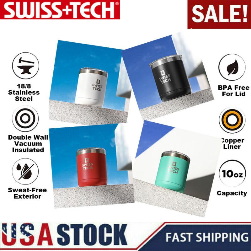SWISS+TECH 10oz Coffee Tumbler Mug Double Wall Vacuum Insulated Travel Mug w/Lid