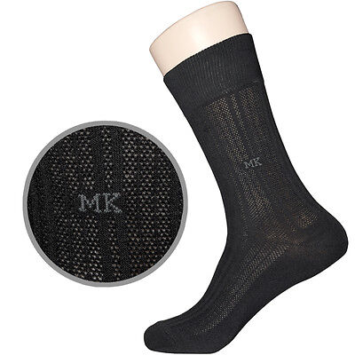 """5 Pairs Mens Mesh Thin Dress Socks MSC03 """"Skin contact surface is 100% cotton"""""""
