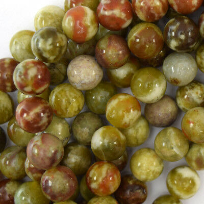 - Russian Green Red Serpentine Round Beads 15.5