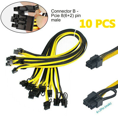 10 X PCIE 6 pin Female to Dual PCI-E 8(6+2)pin Male GPU Power Cable Splitter US