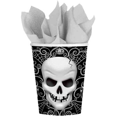 8 Halloween Party Fright Night Gothic Skull Children's Party 266ml Paper - Halloween Monster Party Night
