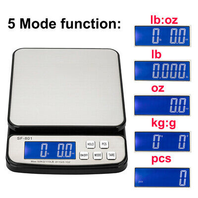 110 LB x 0.1oz Digital Postal Shipping Scale Weight Postage Adapter + 3x Battery