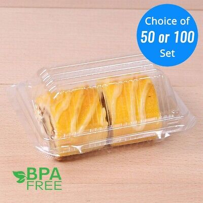 50/100 ct. Clear Plastic Rectangle Take Out Cake Box Container For Social - Cake Containers