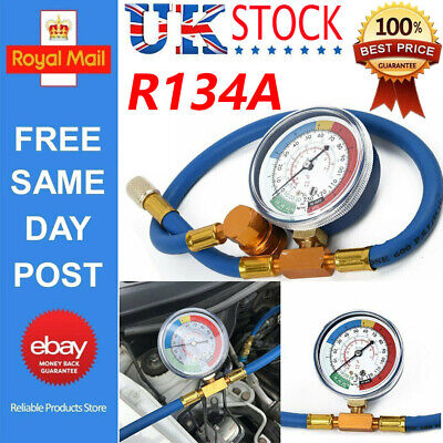 Car Van Air Conditioning A/C R134A Refrigerant Charging Hose with Pressure Gauge