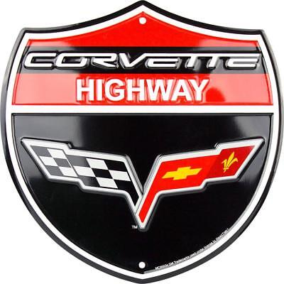 CHEVROLET CORVETTE HIGHWAY SHIELD METAL TIN EMBOSSED RETRO SIGN CHEVY FLAGS