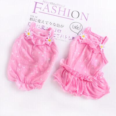 Thin Summer Cat Dog Vest Dress Pink Small Puppy Yorkie Skirt Cute Pet -