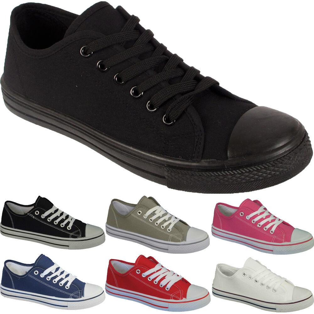 LADIES CANVAS SHOES GIRLS FLAT PUMPS PLIMSOLLS WOMENS BASEBALL TRAINERS SIZE 3-8