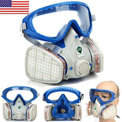 US Full Face Respirator Mask Double Filter Air Breathing Chemical Gas Protection