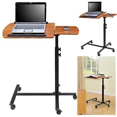 Laptop Cart Desk Stand Rolling Adjustable Bed Sofa Site Mobile Computer Table