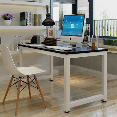 Black Wood Computer Desk Pc Laptop Table Study Workstation Home Office Furniture