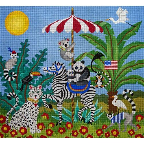 Needlepoint HandPainted JP Needlepoint Black and White Fantasy Circus 15x16