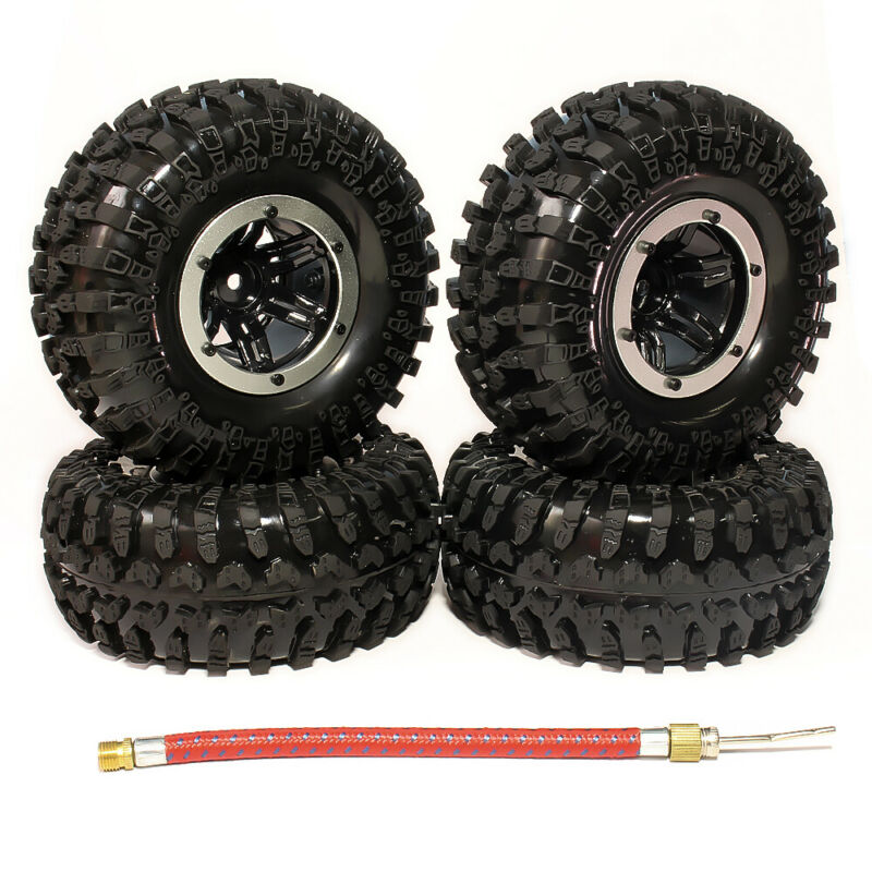4Pcs 1/10 Rc Inflatable 2.2 Inch Beadlock Tire Wheel For Rock Crawler Truck