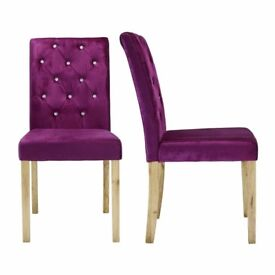Crushed Velvet Fabric Paris Dining Chair Purple Set Of 4 NEW