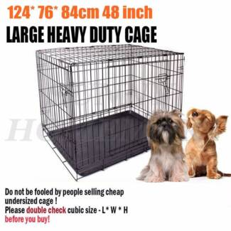 "A 48"" Metal Collapsible Cage Crate DOG PET CAT Training Rabbit"