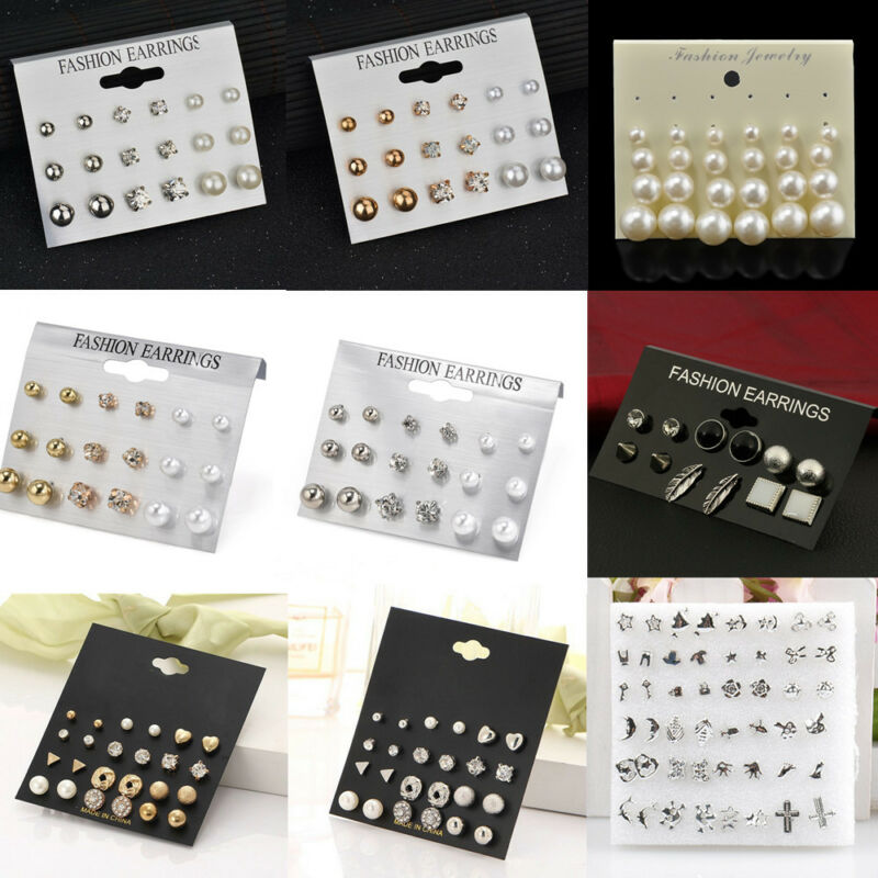 24 Pairs Fashion Rhinestone Crystal Pearl Earrings Set Women