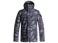 2018 Quiksilver Mission Ski/Snowboard Jacket Grey/Black Camo (Medium - BNWT)
