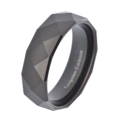 8mm Tungsten Black Multi-Faceted Wedding Band Ring Men's Jewelry sz 8-15 ()
