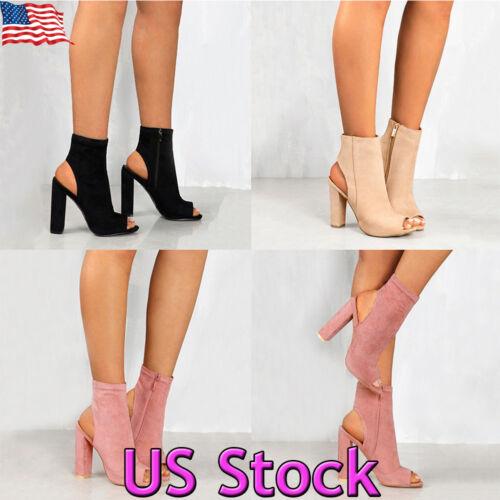 Women Ladies Block Pumps Peep Toe Side Zipper Ankle Boots Hi