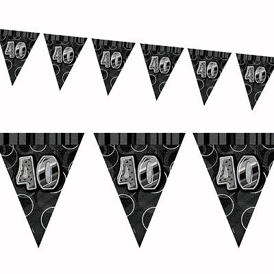 9ft Black Sparkle Happy 40th Birthday Pennant Flag Banner Party - 40th Birthday Party Banners