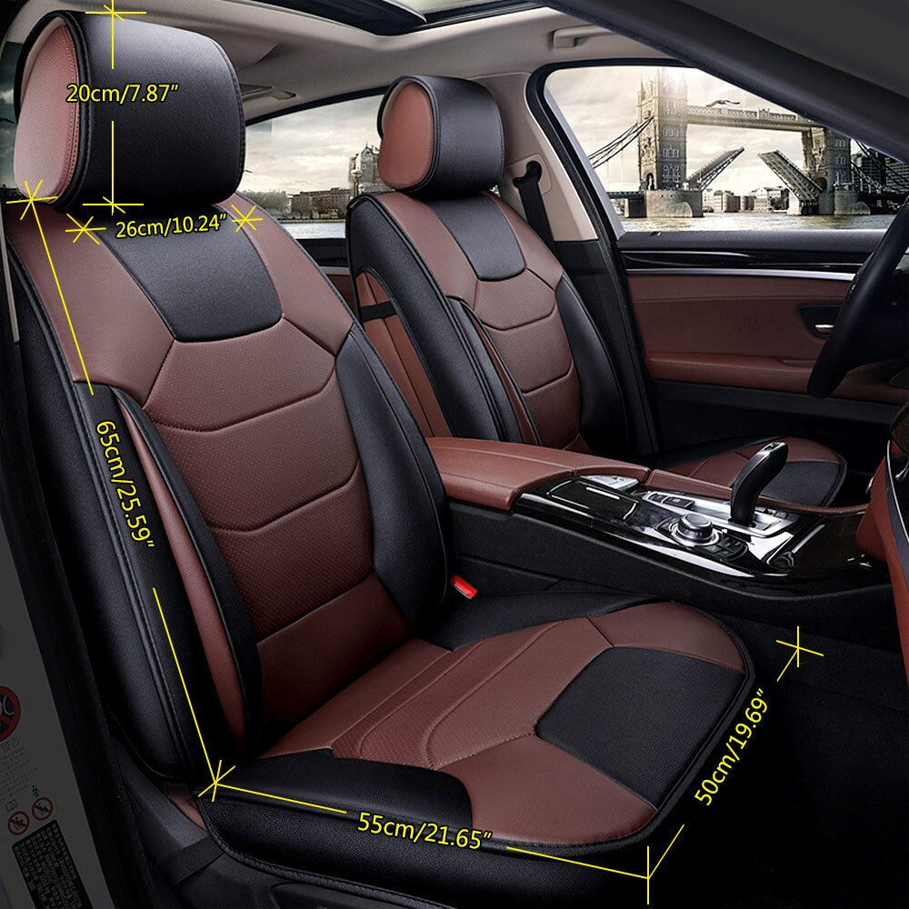 US 5-Seats Car Seat Cover Front+Rear Microfiber Leather