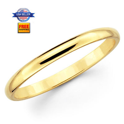 Thin Yellow Gold Plated Stainless steel 2mm Wedding Band Rin