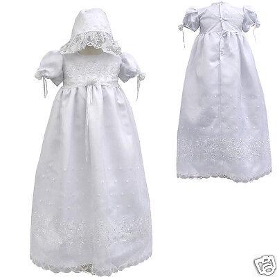 Baby Toddler Girl Christening Gown Baptism Dress W/ Bonne...
