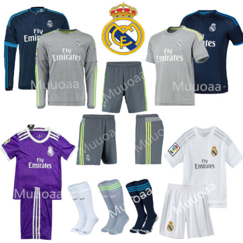 3-14 Years Kids Jersey Football Soccer Short Long Sleeve Kits+socks RONALDO Suit