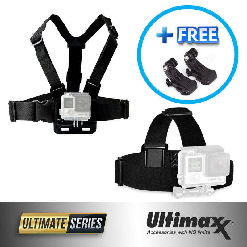 Head Harness + Chest Strap Mount Fits ALL GoPro HERO9 8 7 6 5 4 & GoPro Session