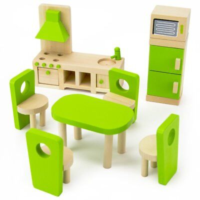 Wooden Wonders Eat-In Kitchen and Dining Room Set, Colorful Dollhouse Furniture