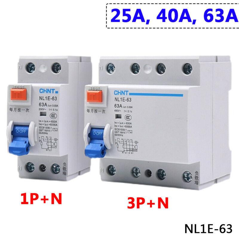1P+N 3P+N 25A 40A 63A Residual Current Circuit Breaker 30mA RCD RCCB MCB NL1E-63