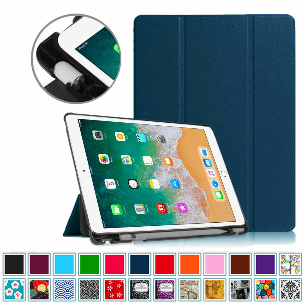 iPad 9.7 6th Gen Case with Built-in Apple Pencil Holder Smart Slimshell Cover