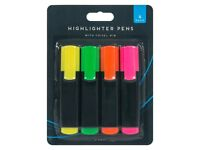 neon highlighter pens (pack 4)