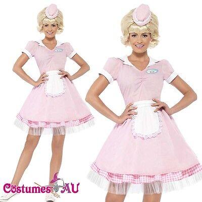 Ladies 50's 50s Diner Girl Waitress Costume 1950s Female Rock N Roll Fancy Dress - 1950s Diner Costume
