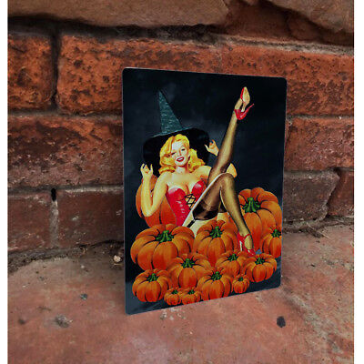 Halloween Witch BAR PIN UP GIRL SHABBY CHIC ENAMEL METAL TIN SIGN WALL PLAQUE ()
