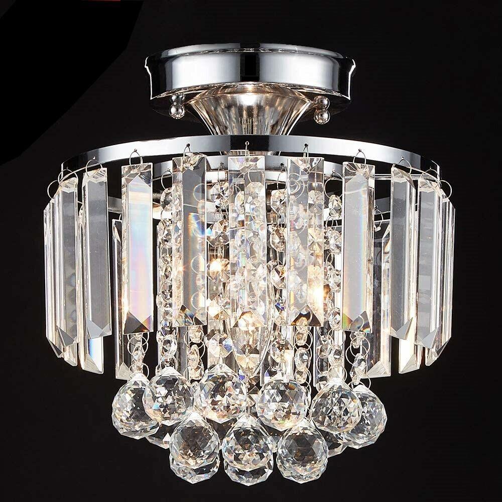 Semi Flush Mount Ceiling Light Fixture Modern Crystal Chande