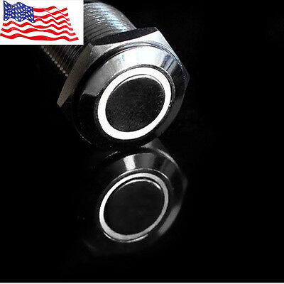 New 16mm 12v White Led Angel Eye Push Button Metal On-off Switch For Car Motor