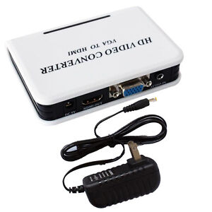 1080P Audio VGA to HDMI HD HDTV Video Converter Box Adapter for PC Laptop DVD US