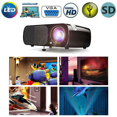 Mini LED Smart Home Theater Projector 4K 1080P FHD 3D VGA HDMI Video Movie USA