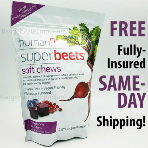 Super Beets 60 SOFT CHEWS HumanN Superbeets + Grape Seed Extract 30Dy Supplement