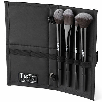 LaRoc 4 Piece Makeup Brush Cosmetic Set Kit Eyeshadow Foundation Powder Blush