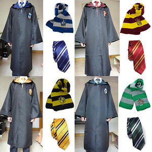 Harry-Potter-Robe-BACCHETTA-MAGICA-Set-sciarpa-cravatta-Grifondoro-Serpeverde-Tassorosso-Corvonero