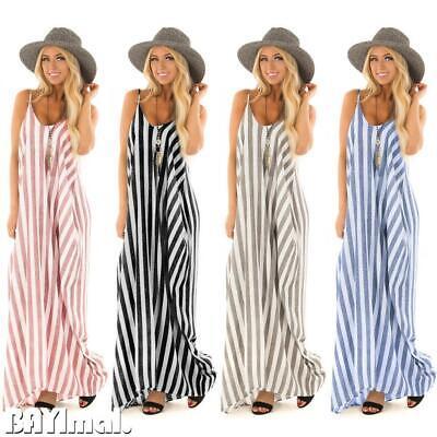 Women Summer Striped Long Maxi Dress Ladies Casual Beach Sleeveless Sun Dresses