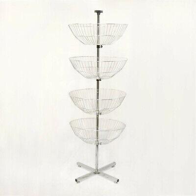 63 High 4 Basket Display Clothes Rack Tier Spinner Rack Dump Bin Retail Fixture