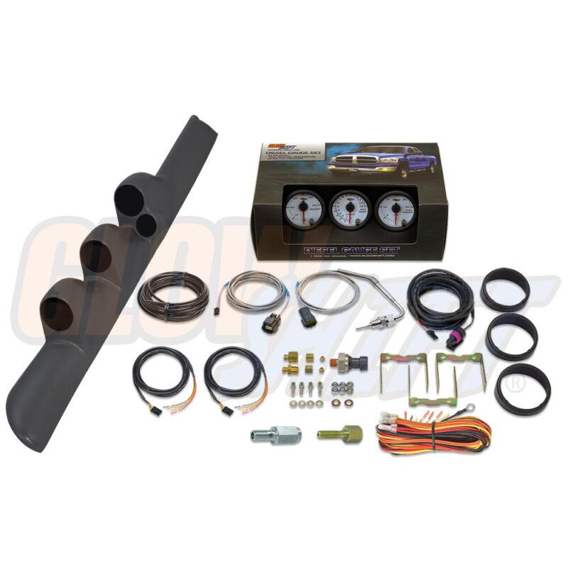 GlowShift W7 Boost EGT Fuel PSI Gauges + Gray Pod for 98-02 Dodge Ram Cummins