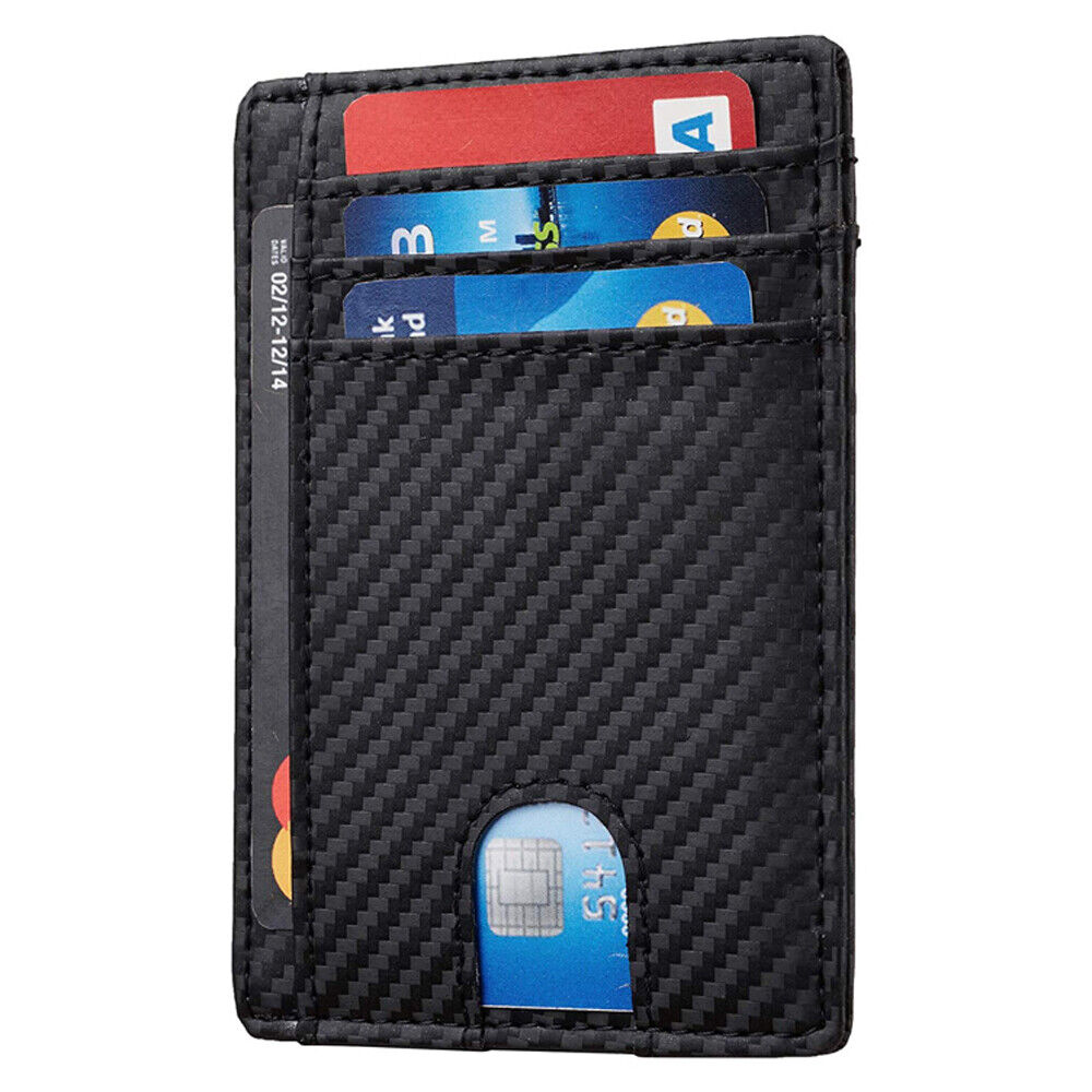 Slim Minimalist Front Pocket RFID Blocking Leather ID Card Wallet for Mens Woman