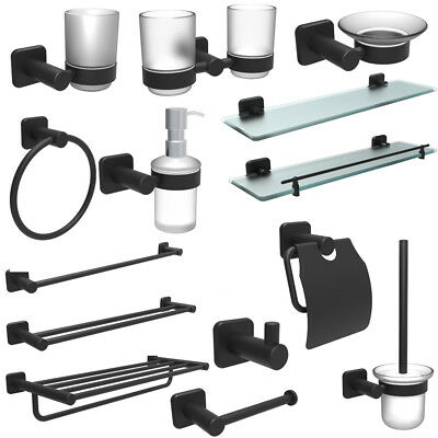 Oil Rubbed Black Bathroom Accessory Set Towel Bar Square Paper Holder Wall Mount