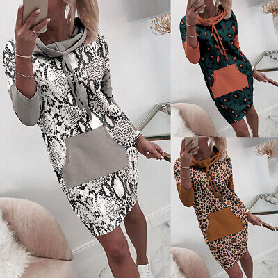 Women Casual Hoodie Sweaters Jumper Dress Ladies Spring Long Sweatshirt Tops Tee