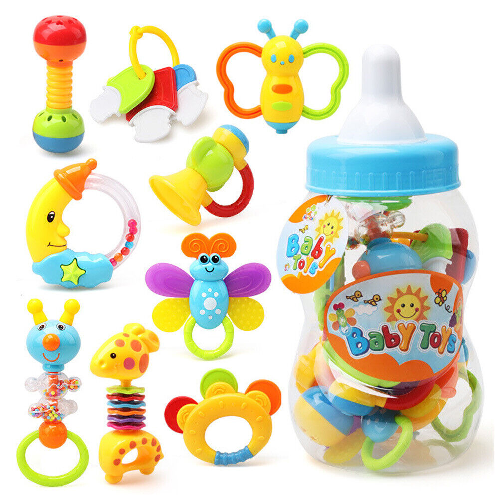 9tlg/Set Baby Spielzeug Motorik Rasseln Greiflinge Rassel Babyrassel DHL