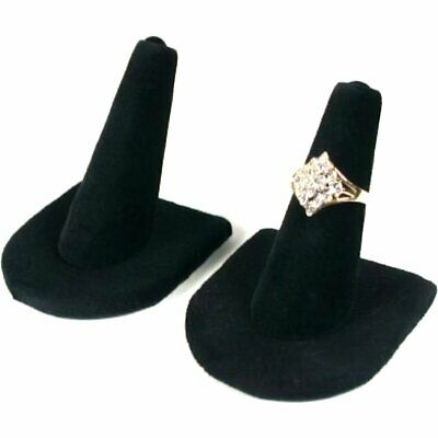 2 Black Velvet Ring Finger Jewelry Displays Holders Showcases 2